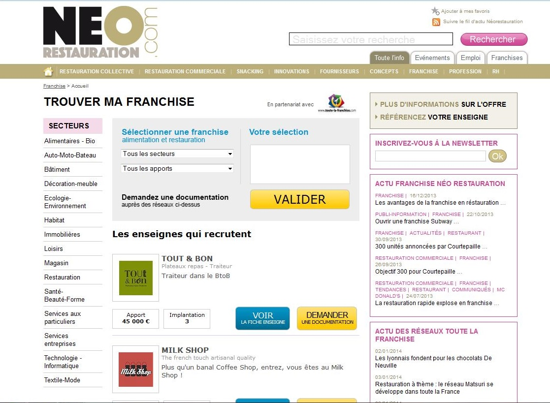 neorestauration franchise alimentaire