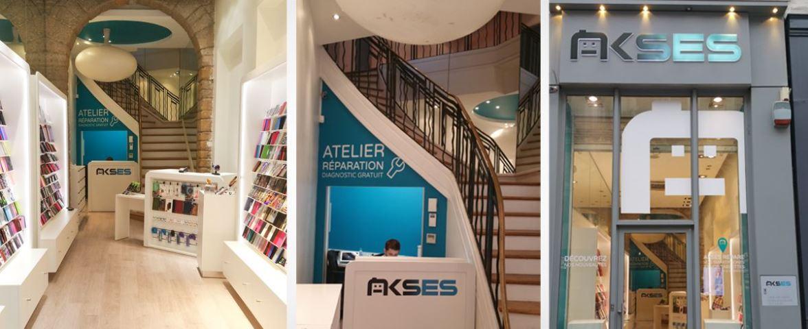 Façade et intérieur d'une boutique AKSES