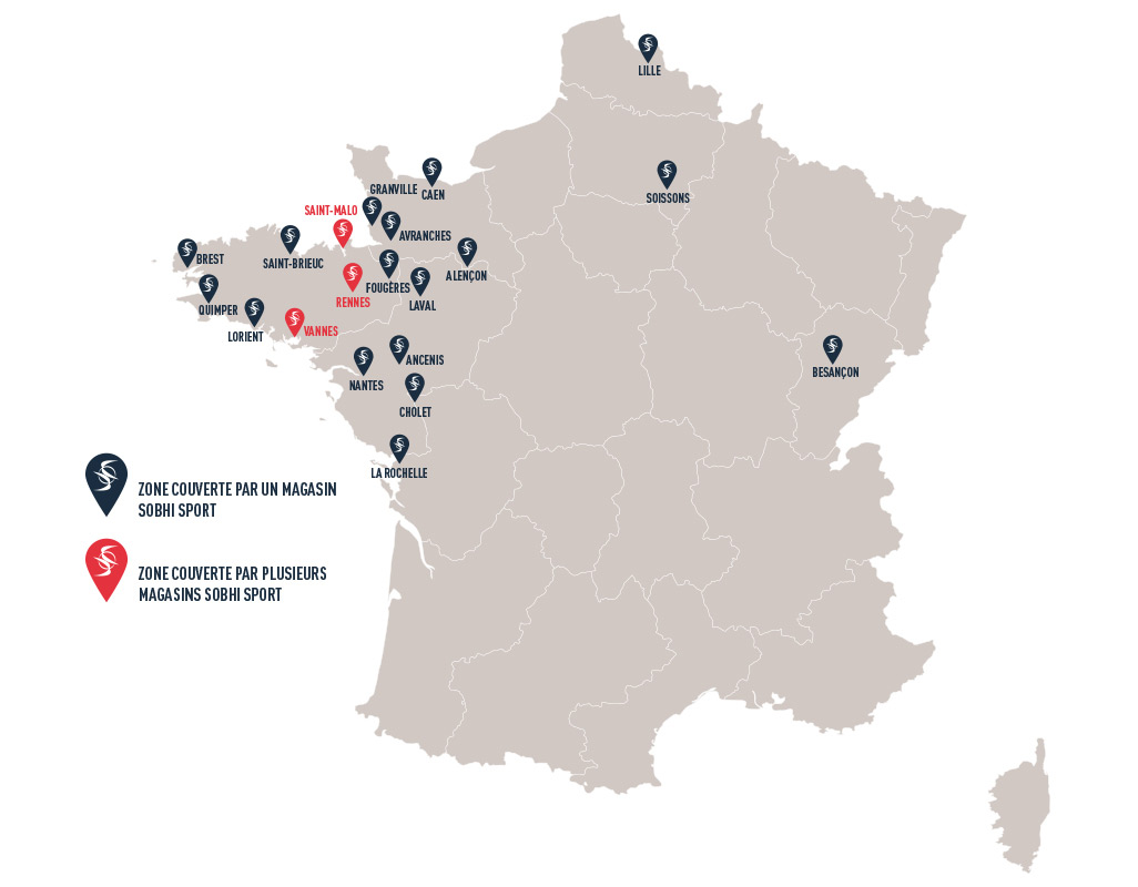 carte de France des implantations des magasins de running Sobhi Sport