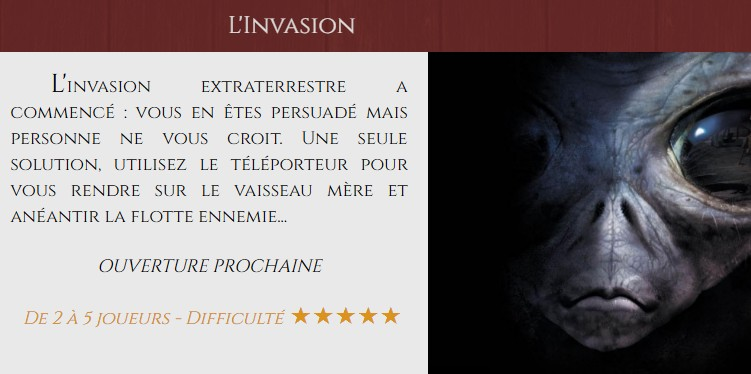 Franchise Closed Escape Game invasion extraterrestre