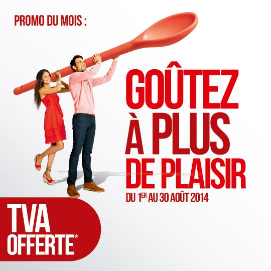 Au mois d 39 aot la tva est offerte chez cuisine plus for Cuisine pose offerte