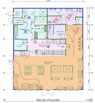 Exemple plan de cuisine circulation plan maison for Agencement cuisine restaurant normes