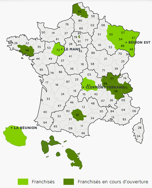 carte de France - implantations réseau GEOLIC SOLUTIONS