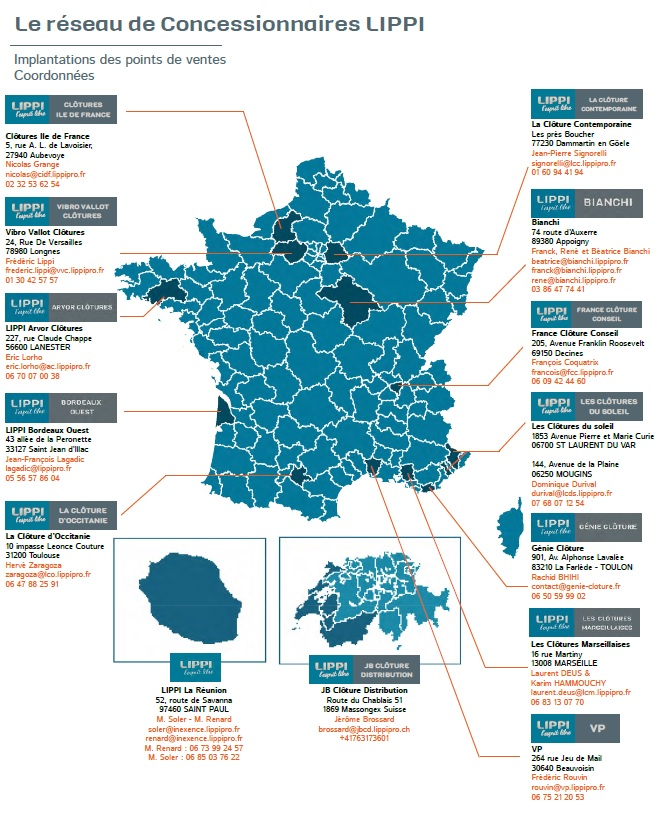 carte de France des implantations de l'enseigne Lippi