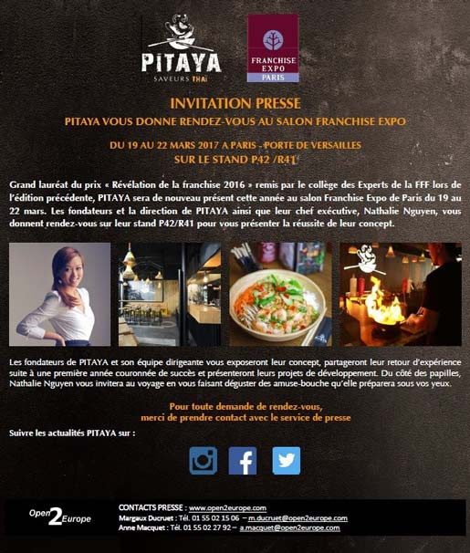 Pitaya exposera au salon franchise expo 2017 for Le salon de la franchise