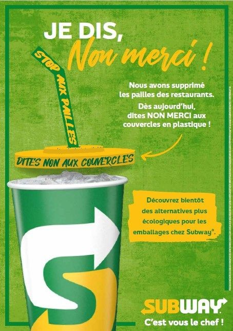 Suppression pailles plastiques Subway